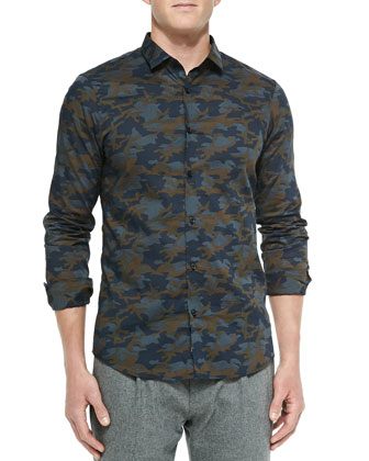 Leather-Sleeve Trench Jacket, Slim-Fit Camo-Print Shirt & Felt Pleat-Front ...