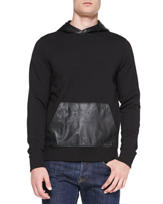 Leather/Knit Hooded Sweatshirt