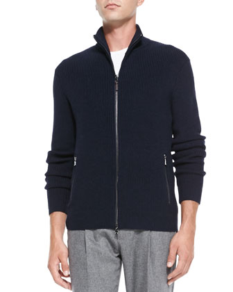 Shaker-Knit Front-Zip Sweater