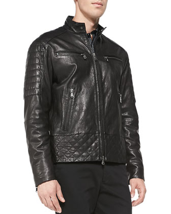 Quilted Washed Leather Jacket, Square-Check Shirt & Rib-Cuff Trousers