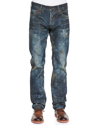 Distressed Dirt-Wash Jeans