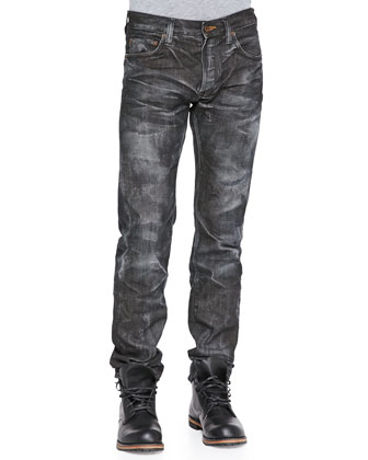 Demon Straight Leg Jeans, Black Wash