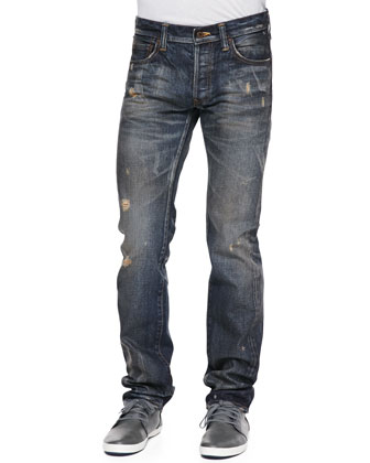 Demon Distressed Jeans, Medium Blue