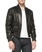 Contrast Textured Leather Jacket, Black