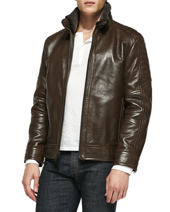 Shearling Fur-Trim Rugged Leather Jacket, Dark Brown