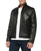 Luxe Leather Moto Jacket, Black