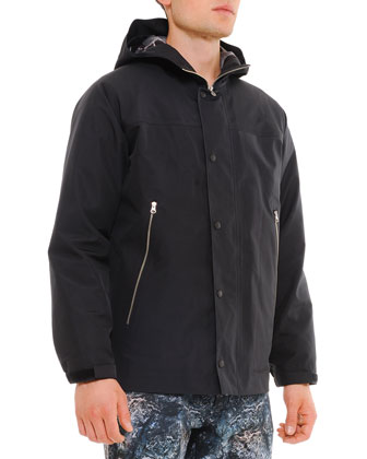 Hooded Parka with Reversible Liner, Black