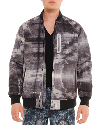 Graphic-Print Varsity Jacket, Gray