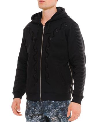 Embroidered Scarful Zip Hoodie, Black