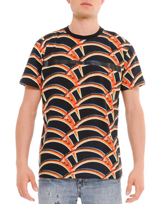 Allover Printed Tee, Black/Red