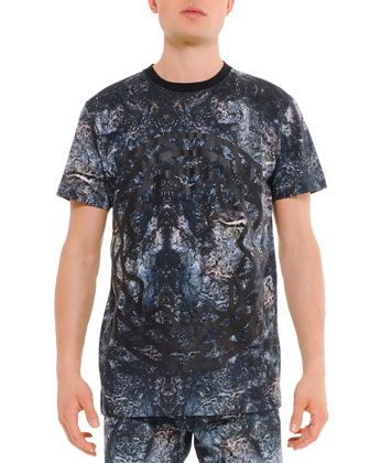 Mercurio Allover Printed Tee, Black/Blue
