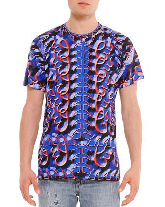 Geometric-Swirl Printed Tee, Blue