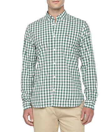Ribbed Shawl-Collar Cardigan, Gingham Poplin Shirt & Slim Gabardine Chino Pants