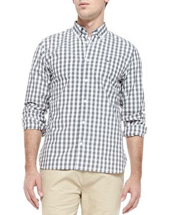 Gingham-Check Poplin Shirt, Gray
