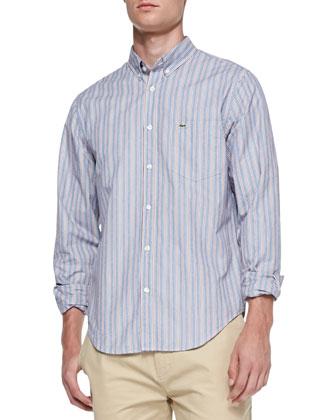 Button-Down-Collar Striped Shirt, Light Blue/Orange