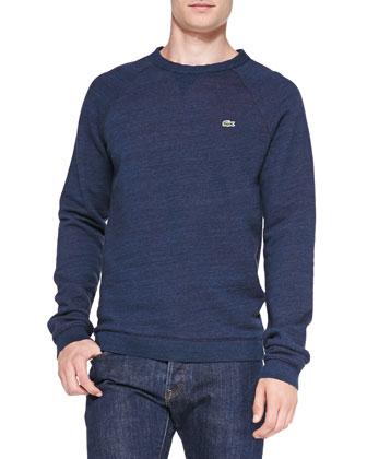 Double-Face Crewneck Sweatshirt, Blue