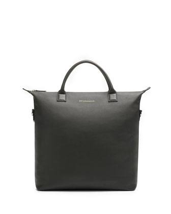 OHare Leather Soft Shopper Tote Bag, Smoke