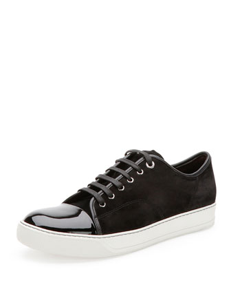 Suede & Patent Leather Low-Top Sneaker, Black