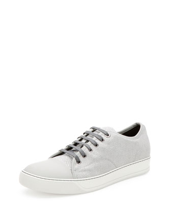 Crackle-Leather Low-Top Sneaker, Beige