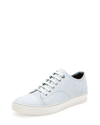 Leather Low-Cut Sneaker, Ice Blue