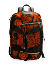 Convertible Printed 17 Backpack, Black/Orange
