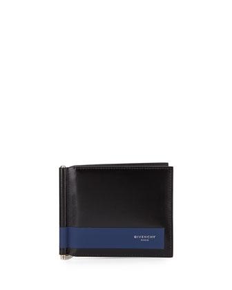 Leather Money Clip Wallet, Black/Blue
