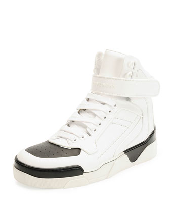 Tyson Cap-Toe Leather High-Top Sneaker, White/Black
