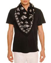 Men's Skull-Print Modal/Silk Scarf, Black/White