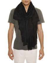 Men's Allover Skull-Print Scarf, Midnight/Black