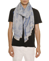 Men's Allover Skull-Print Scarf, Blue/Gray
