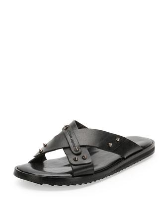 Crisscross Stud Sandal, Black
