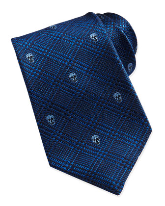 Skull Plaid Tie, Navy