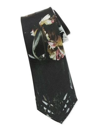 Floral-Print Silk Tie, Black/Multi