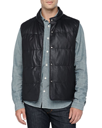 Quilted Reversible Vest, Navy/Brown