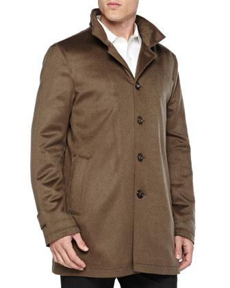 Solferino Cashmere Coat, Dark Green
