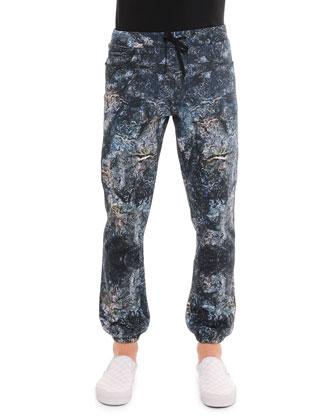 Mercurio Allover Printed Pants, Blue
