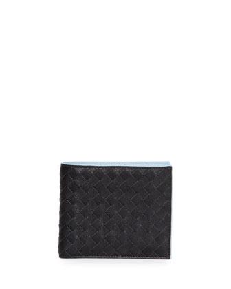 Contrast-Interior Woven Lambskin Wallet