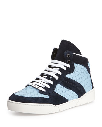 High-Top Woven Leather Sneaker, Blue