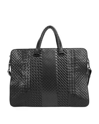 Intrecciato Leather Computer Case, Black