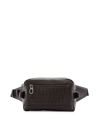 Woven Leather Belt Bag, Brown