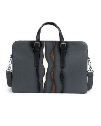 Glimmer Intrecciato-Detail Briefcase