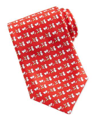 Silk Dog/Flower-Print Tie, Red