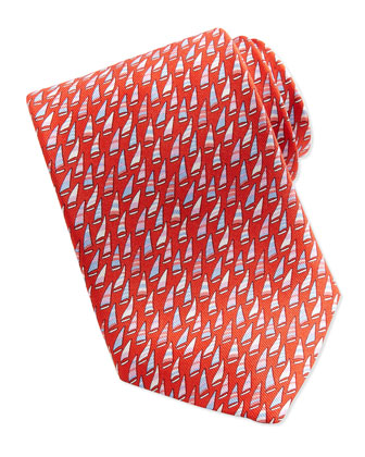 Silk Sailboat-Print Tie, Magenta