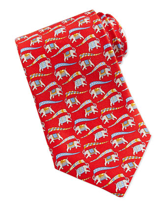 Large Elephant-Print Tie, Blue/Red