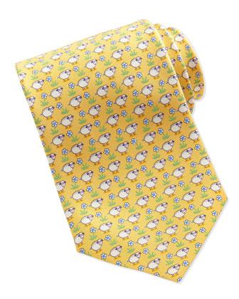Silk Sheep/Flower-Print Tie, Yellow