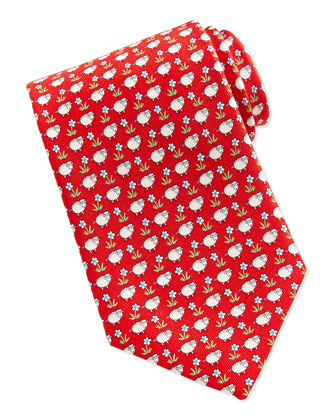 Sheep/Flower-Print Tie, Red