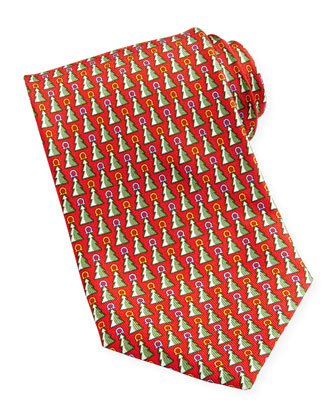 Christmas Tree Gancini Tie, Red