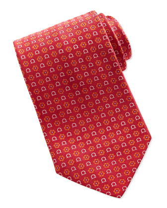 Gancini Flower-Print Tie, Orange