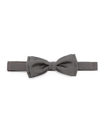 Pre-Tied Silk Bow Tie, Gray