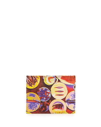 Plate Printed Leather Card Case, Multi